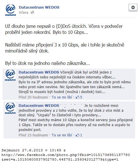Vyjádření Wedos na Facebooku k DDoS útoku 23.6.2013