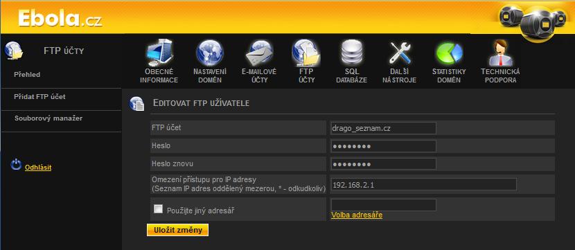 V administraci si můžete pohodlně zamknout přístup přes FTP úplně, anebo omezit jen na vybrané IP adresy.