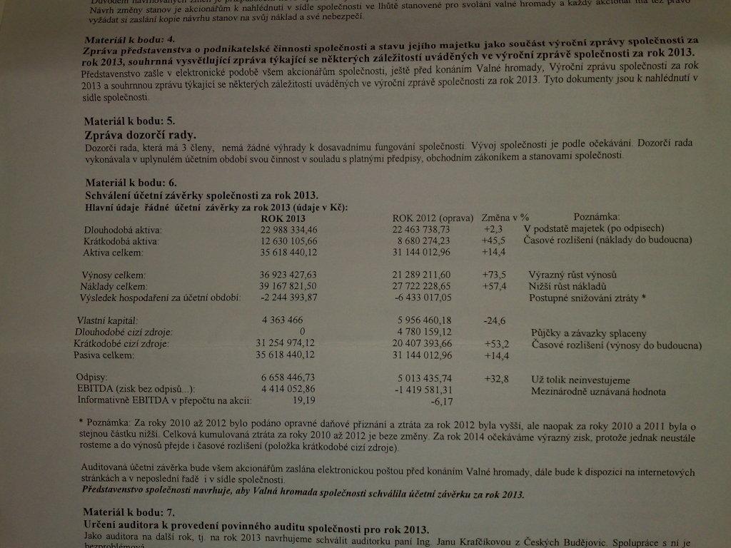 Účetní závěrka WEDOS za rok 2013.