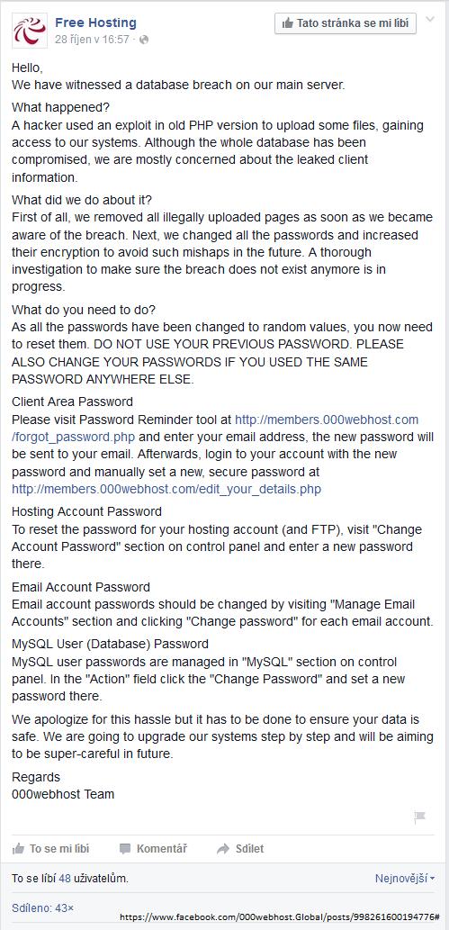 Kompletní vyjádření 000webhost, které společnost vydala prostřednictvím Facebook